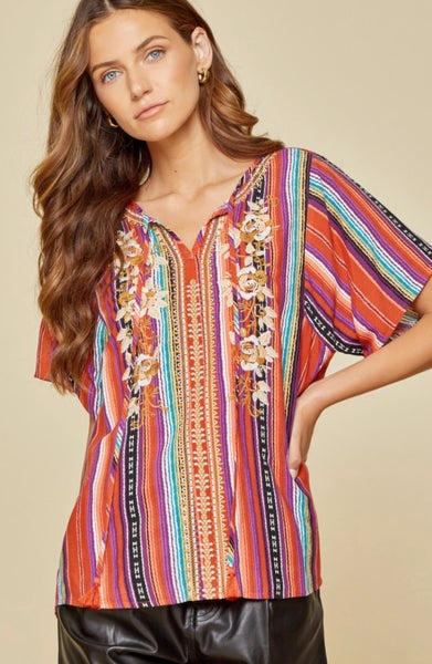 Multi Color Striped Embroidered Short Sleeve Top