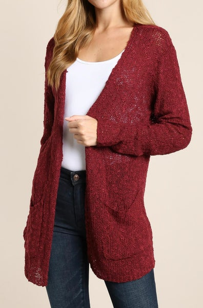 Maroon Open Front Knit Cardigan with Pockets