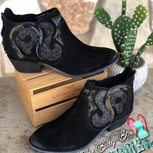 Black Naughty Monkey Eloi Glitter Swirl Booties SIZE