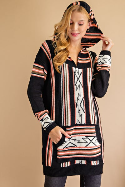 Black Striped Pullover Hoodie Sweater Tunic