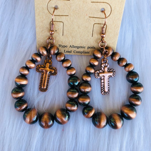 Copper Beaded Hoop with Cross Earrings