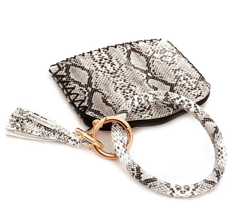 Leather Snake Print Pouch Key Chain