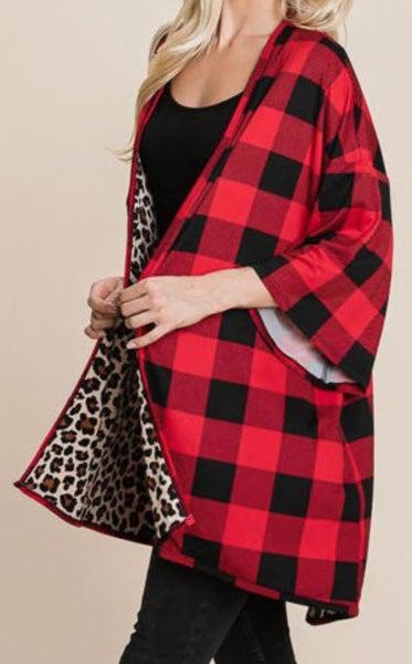 Buffalo Plaid with Inside Leopard Print Kimono