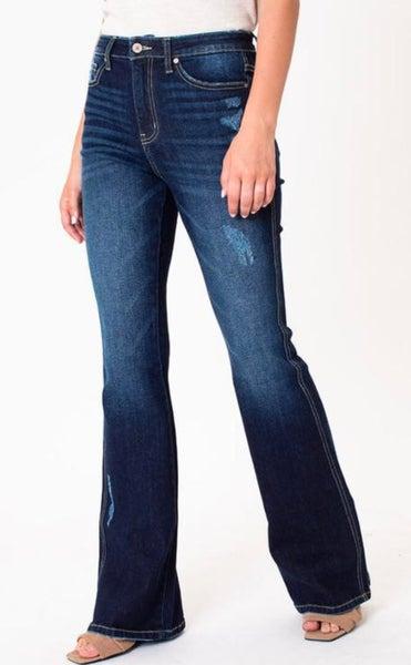 Kan Can High Rise Dark Denim Trouser Jean