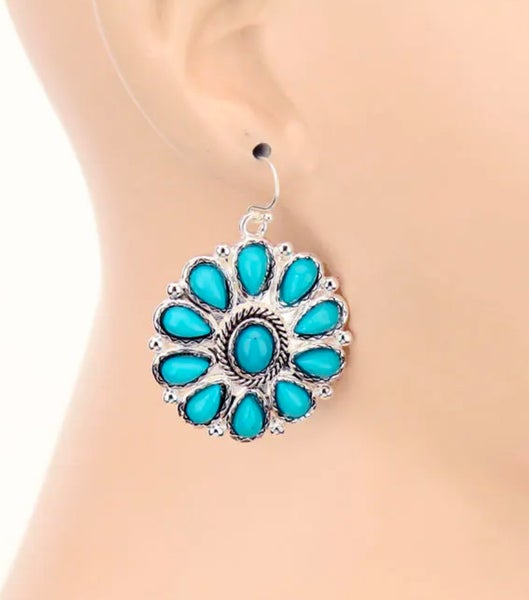 Western Concho Turquoise Stone Earrings