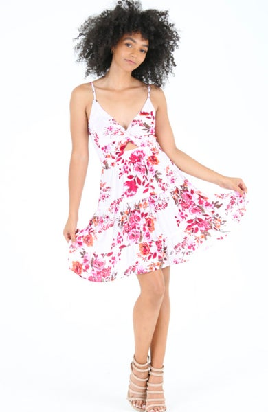 White Floral Twist Front Keyhole Dress