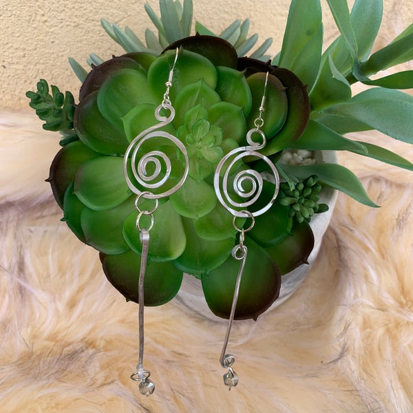 "Bonnie Angela  5"" Long Swirl Silver Earrings"