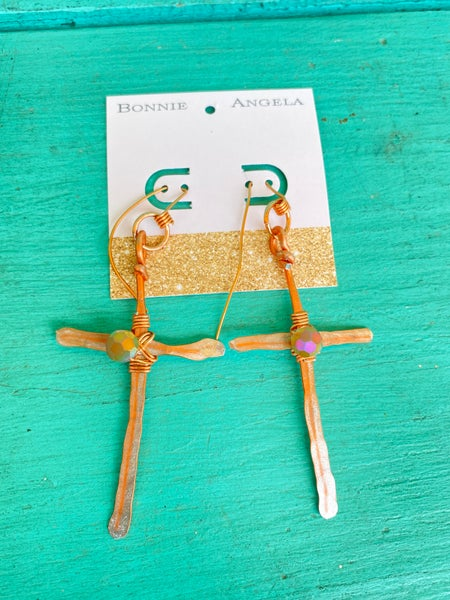 """Bonnie Angela Copper Hammered Cross with Crystals  4"""" L x 2"""" W Earrings"""
