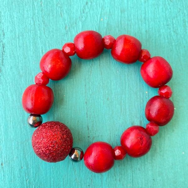 Bonnie Angela Red Wooden Stretch Glitter Ball Bracelet