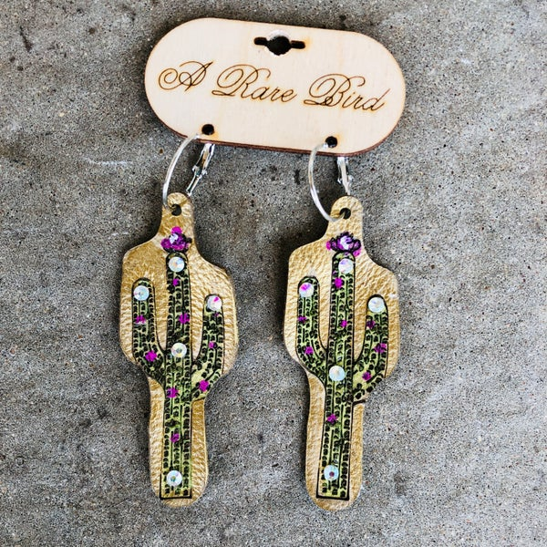 Gold Cactus Leather Earrings