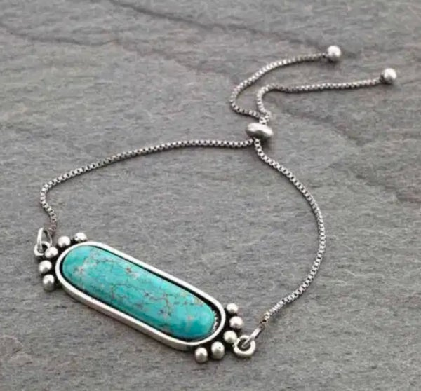 Natural Turquoise Stone Adjustable Bracelet