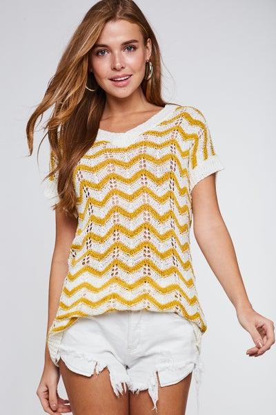 Mustard Chevron Print Short Sleeve Knit Top