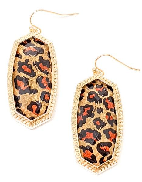 Brown Leopard Print Crystal Earrings