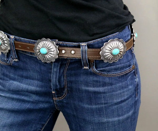 Brown Leather Silver Concho Turquoise Stone Belt