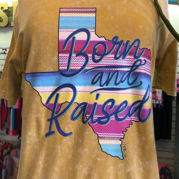 Born & Raised Serape Texas on Vintage Mustard Tee