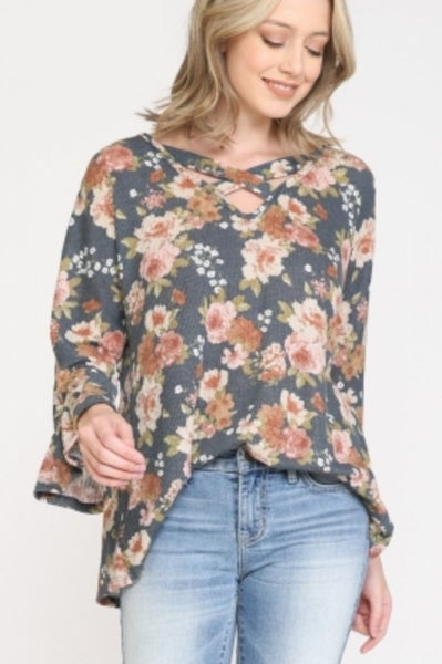 Floral Print Crisscross V-Neck Top with Ruffle Sleeves