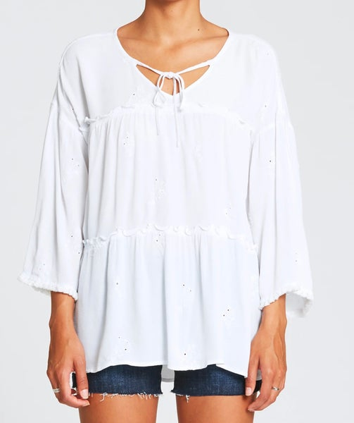 Janine Embroidered Shirt Optic White Peasant Top