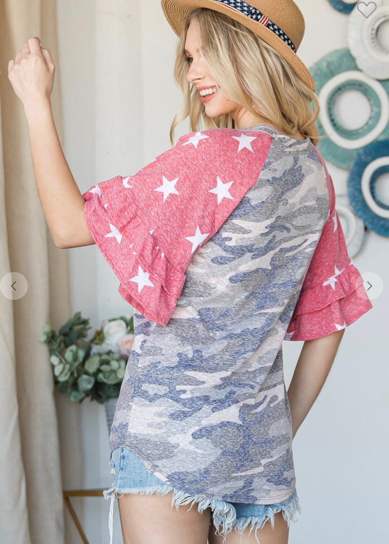 Vintage Camo Red Stars Ruffle Sleeve Top