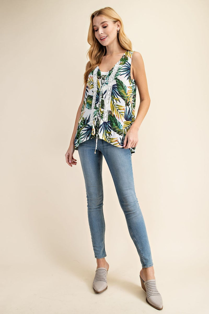 White Lace Up Tropical Floral High Low Top