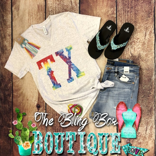 V-Neck Tie Dye TX T-Shirt