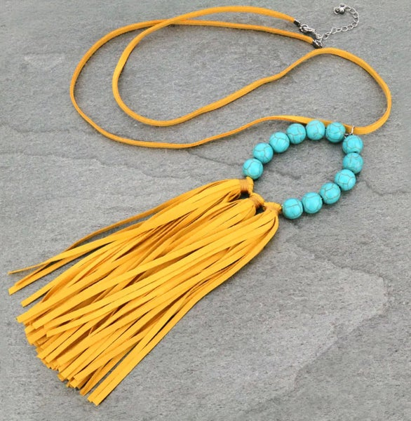 Mustard TQ Stone with Leather Tassel Necklace