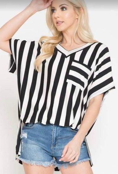 Black & White Striped Oversized Top