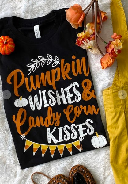 Pumpkin Wishes Candy Corn Kisses Black T-Shirt