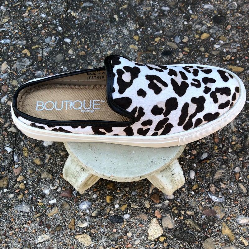 Abbott - Snow Leopard Cowhide Slip On Tennis Shoe