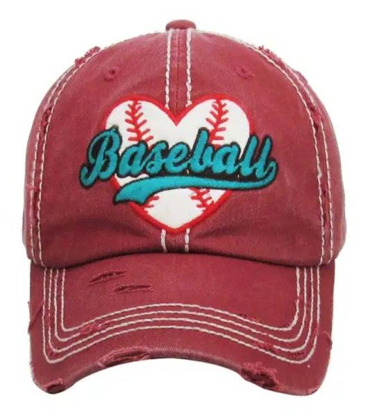 Vintage Maroon Baseball Heart Hat