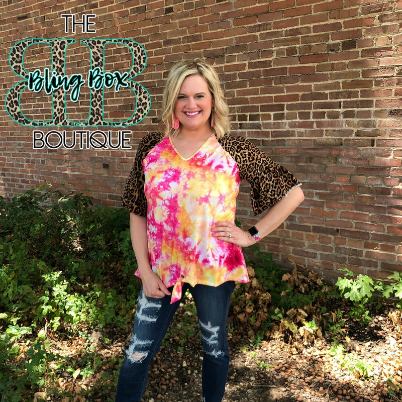 Pink & Gold Tie Dye Leopard Sleeve Top