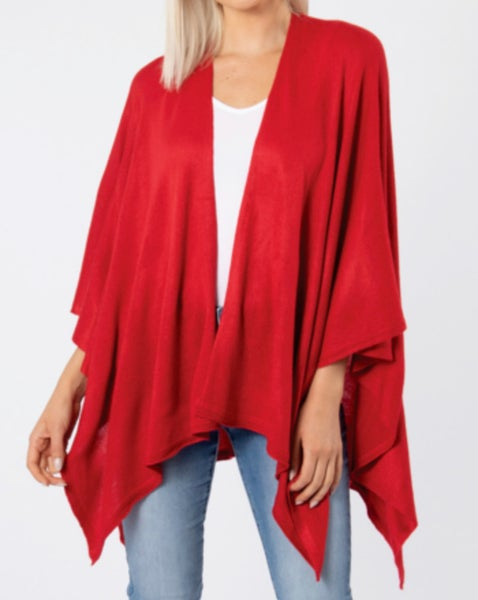 One Size - Cardinal Red Sweater Wrap