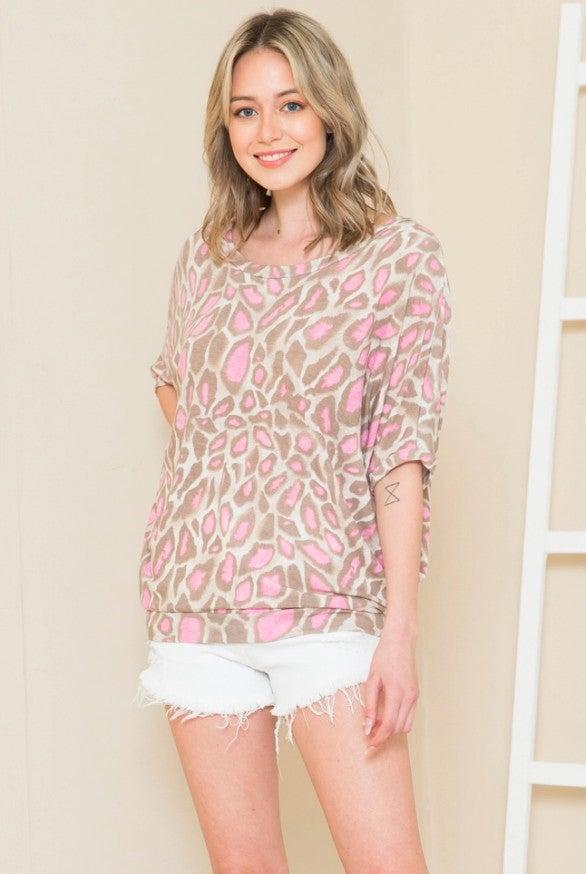 PLUS Pink Leopard Dolman Sleeve Top