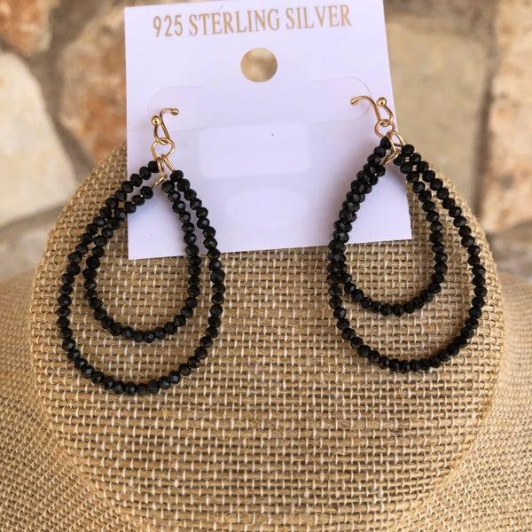 Black Double Crystal Teardrop Earrings