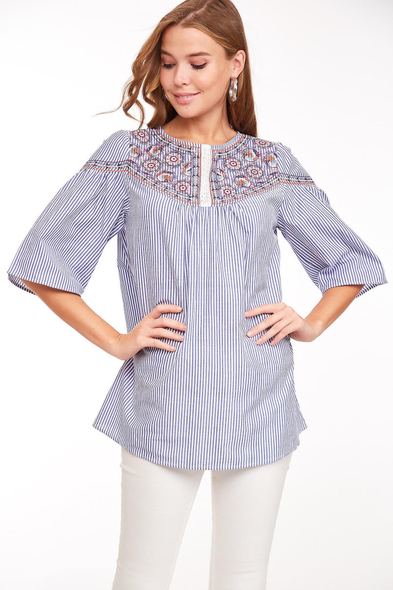 Blue Striped Embroidered Flared Sleeve Top