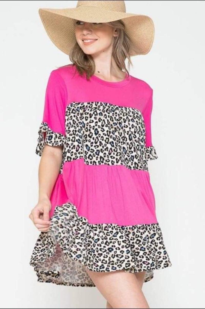 Multi Color Leopard & Pink Ruffle Print Tunic