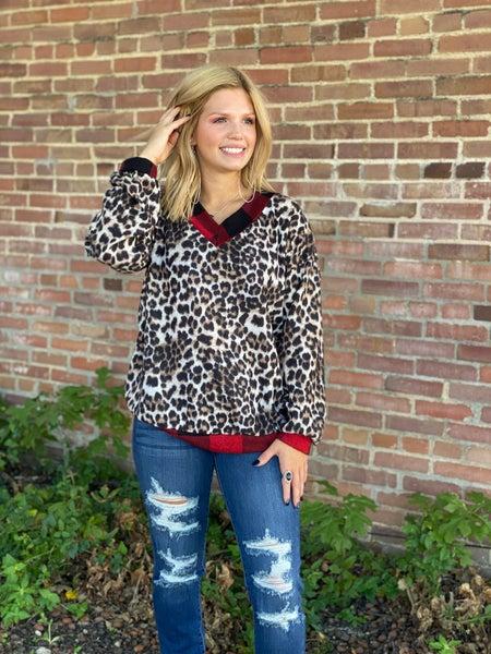 Leopard Buffalo Plaid Trim Sweater