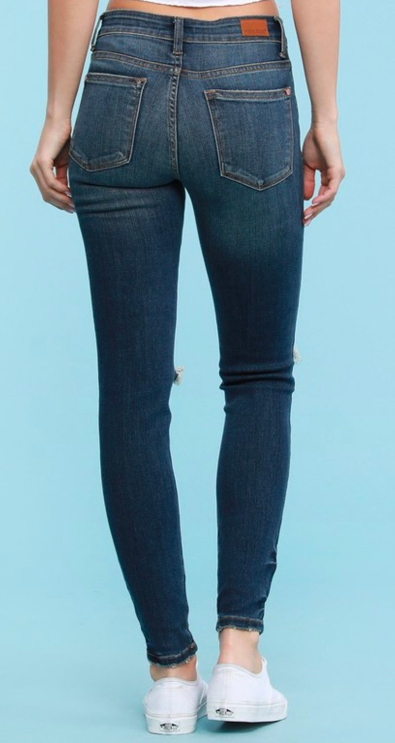 Judy Blue Dark Destroyed Skinny Jeans