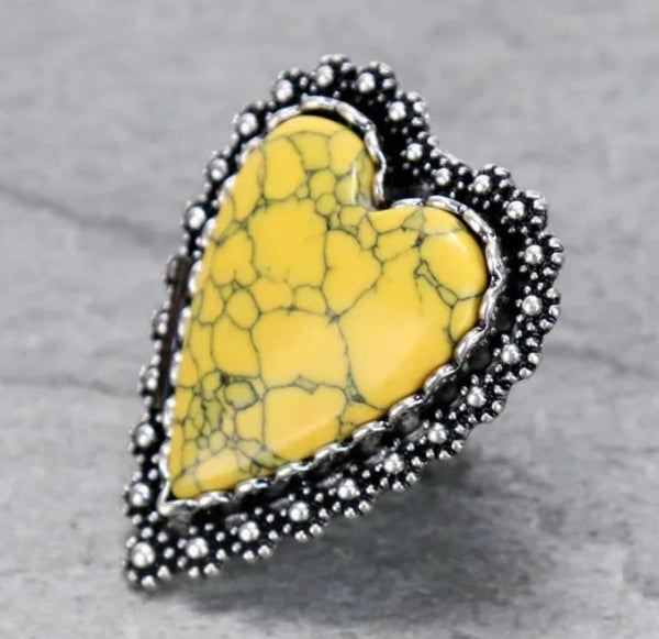 Large Mustard Marble Heart Ring