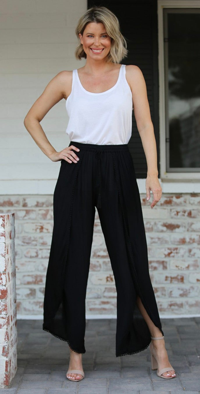 Black Gause Split Open Front Pants