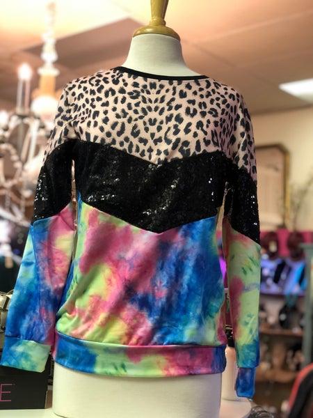 Tie Dye Black Sequin Leopard Sweatshirt