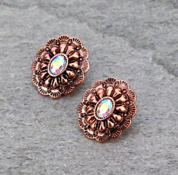 Bronze Western Concho Stud Earrings