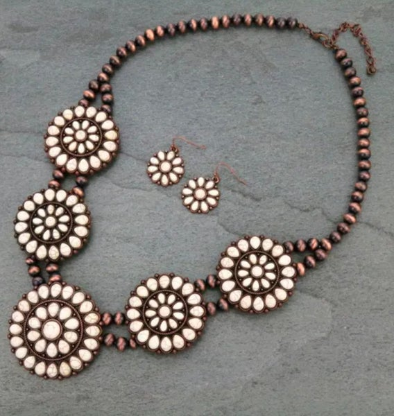 Cream Concho Medallion Bronze Navajo Pearl Necklace Set