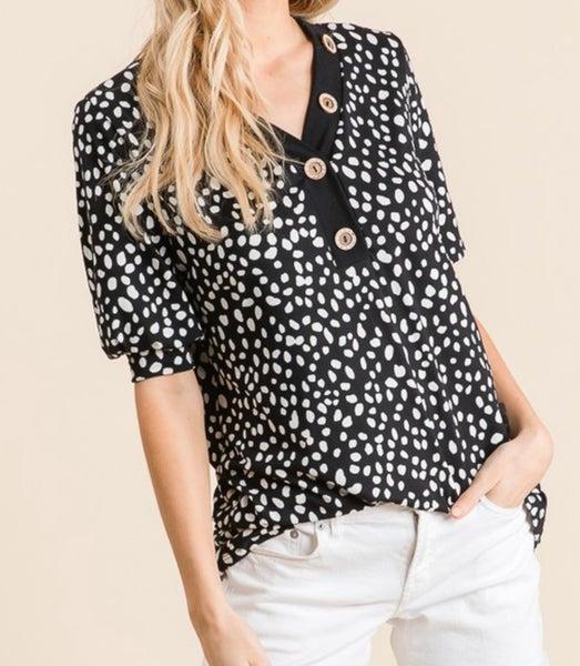Black Leopard Print Short Sleeve Puff Top