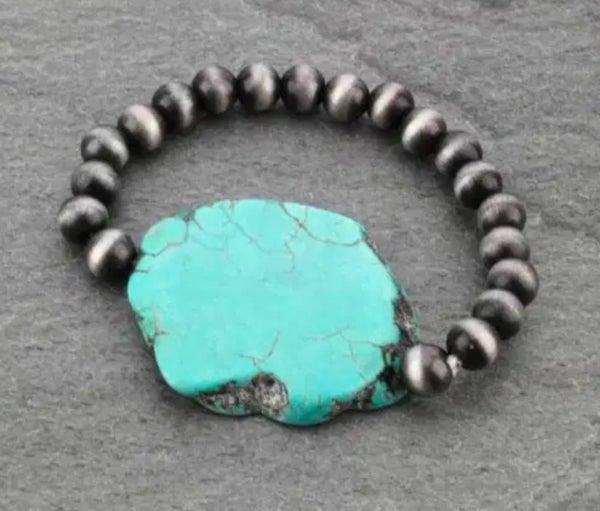Turquoise Slab Navajo Pearl Stretch Bracelet