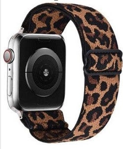 Dark Leopard Print Stretch 38/44 mm Apple Watchband