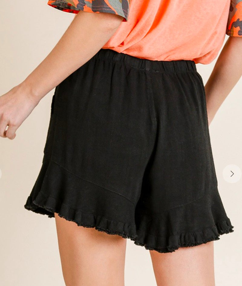 Black Stretch Waist Ruffle Hem Shorts with Pockets