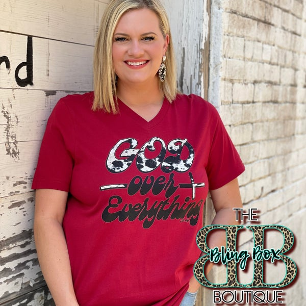 Cow Print God Over Everything on Red V-Neck Tee