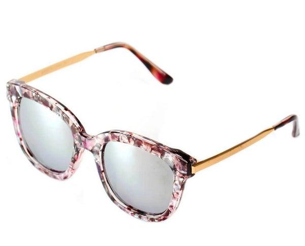 Women's Oversize Silver Mirrored Lens Grey Horned Rim Sunglasses