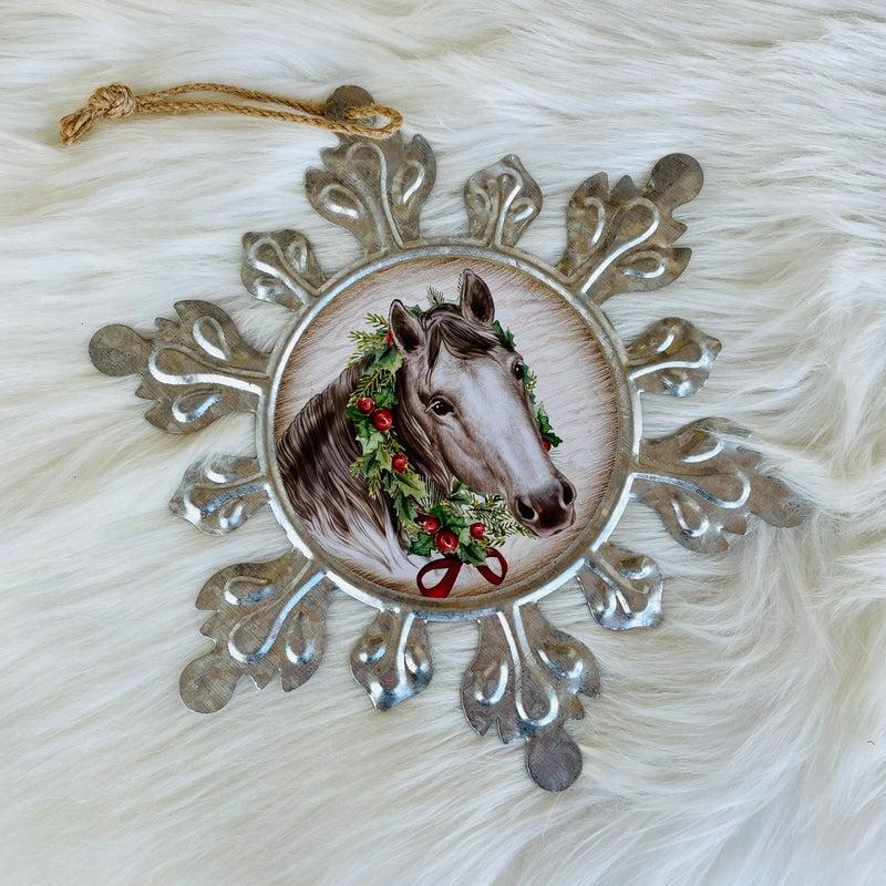 "Large Galvanized Snowflake Horse 9"" x 9"" Ornament"