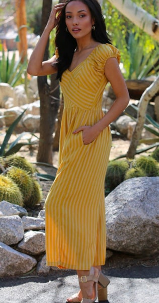 Mustard Striped Cropped Jumpsuit